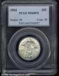 1924 25C MS 64 Full Head PCGS. The surfaces of this well struck example are brilliant except for three small, dark tonin...