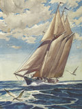 Fine Art - Painting, American:Modern  (1900 1949)  , VIRGIL E. PYLES (American, 1891-1963). Sailboat at Sea.Watercolor on paper. 13-1/4 x 10 inches (33.7 x 25.4 cm). Signed...