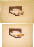 "Movie/TV Memorabilia:Original Art, George Barris Car Design Artwork. A pair of 20.75"" x 15.5"" conceptdrawings by one of George Barris' design artists. Both fe...(Total: 1 Item)"