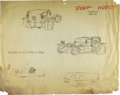 "Movie/TV Memorabilia:Original Art, George Barris ""Surf Hurst"" Design Sketch. Four illustrations on22.5"" x 18"" drawing paper for a custom car combining surf bu...(Total: 1 Item)"