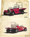 "Movie/TV Memorabilia:Original Art, George Barris ""Flash"" Concept Design Artwork. A pair of 16"" x 10""ink-and-watercolor design drawings featuring back and fron...(Total: 1 Item)"