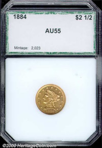 1884 $2 1/2 AU 55 PCI. There are numerous small, parallel abrasions on both sides of this olive-gold representative....(...