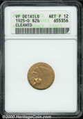 1925-D $2 1/2 --Cleaned--ANACS. VF Details, Net Fine 12. A well circulated, lightly cleaned example that may have been s...