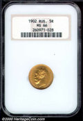 World: , 1902 Russia 5 Roubles MS 66 NGC. Bright, orange-gold luster and...