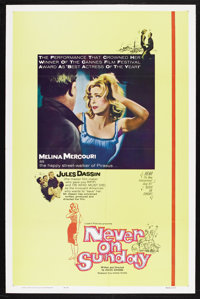 "Never on Sunday (Lopert Pictures, 1960). One Sheet (27"" X 41""). Comedy Drama. Starring Melina Mercouri, Jules..."