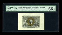 Fr. 1283SP 25¢ Second Issue Wide Margin Pair PMG Gem Uncirculated 66 EPQ/64. The face of this attractive pair is gr...