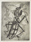 Texas:Early Texas Art - Modernists, CLINTON KING (1901-1979). Praying Mantis. Etching andaquatint. 10 3/4in. x 8in.. Signed lower right. Titled lowerleft...