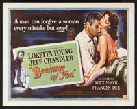 """Because of You (Universal International, 1952). Half Sheets (2) (22"""" X 28"""") Style A and B. Romance. Starring L..."""