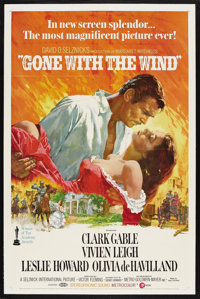 "Gone with the Wind (MGM, R-1974). One Sheet (27"" X 41""). Civil War Drama. Starring Clark Gable, Vivien Leigh..."