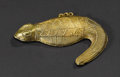African: , Lagoons or Baule (Côte d'Ivoire). Pendant in Lizard Form. Cast Goldalloy. Length: 3 5/8 inches Height: 2 7/8 inches. Th...