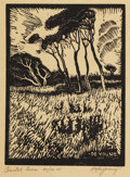 Paintings, HARRY ANTHONY DEYOUNG (1893-1956). Coastal Trees. Block print. 8in. x 6in.. Signed lower right. Titled lower left. Thi...