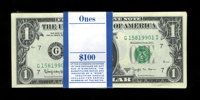 Fr. 1902-G $1 1963B Federal Reserve Notes. Original Pack of 100. Crisp Uncirculated. The last six notes show handling an...