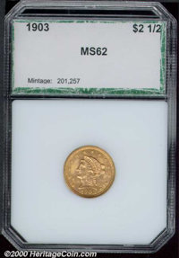 1903 $2 1/2 MS 62 PCI. Sharp and essentially unmarked, some mottled patina is seen particularly on the obverse....(PCGS#...