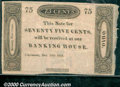 Obsoletes By State:Ohio, 75 cents, Payable at our Banking House, Cincinnati, 12/29/1818,...
