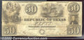Miscellaneous:Republic of Texas Notes, $50, Republic of Texas note, hand written date Oct. 29, 1839, V...