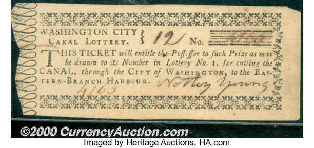 Washington City Canal Lottery Ticket, AU  An early lottery