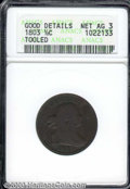 1803 1/2 C --Tooled--ANACS. Good Details, Net AG 3. B-1, C-1, R.1. This is a dark brown, curiously smooth example that a...