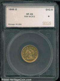 1846-O $2 1/2 XF 45 Rim Nicks SEGS. Somewhat scarce as an issue, but quite inexpensive. The central devices are very sof...