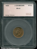 1859 P1C Indian Cent, Judd-229, Pollock-273, R.7, MS 61 Brown SEGS. A transitional design cent featuring the obverse of...