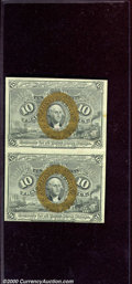 Fractional Currency: , 1863-1867, 10c Second Issue, Washington, Uncut vertical pair, A...