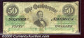 Confederate Notes:1862 Issues, 1862 $50 Black with green overprint; Jefferson Davis, T-50, Fin...