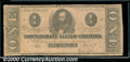 Confederate Notes:1862 Issues, 1862 $1 Clement C. Clay, T-55, VG. A well centered, but well wo...