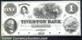Obsoletes By State:Rhode Island, $1, The Tiverton Bank, Tiverton, RI, Proof, AU. Interesting sce...