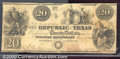 Miscellaneous:Republic of Texas Notes, 1840 $20 Republic of Texas, Cr-A6, Fine. A pleasing note with t...