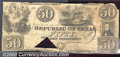 Miscellaneous:Republic of Texas Notes, 1839 $50 Republic of Texas, Cr-A7, Fine. This note has a large ...