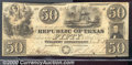 Miscellaneous:Republic of Texas Notes, 1839 $50 Republic of Texas, Cr-A7, VF. This note has two cut ca...