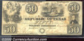 Miscellaneous:Republic of Texas Notes, 1840 $50 Republic of Texas, Cr-A7, VF-XF. A crisp note with two...