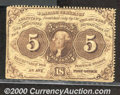 Fractional Currency: , 1862-1863, 5c First Issue, Jefferson Stamp, Perforated, Fr-1229...