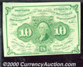 Fractional Currency: , 1862-1863, 10c First Issue, Washington Stamp, Fr-1242, CU. Fres...