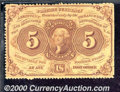 Fractional Currency: , 1862-1863, 5c First Issue, Jefferson Stamp, Perforated, Fr-1228...