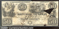 Miscellaneous:Republic of Texas Notes, $50 Republic of Texas, Austin 1840, VG-Fine, center split. Cr-A...