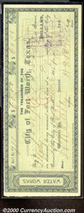 Miscellaneous:Checks, 1888 Check, The City of Fort Worth, TX, XF. A check in the amou...