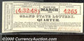 Miscellaneous:Other, Grand State Lottery Ticket, Providence, RI, 3/1826, AU. An inte...