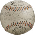 Autographs:Baseballs, 1935 Philadelphia Phillies Team Signed Baseball. Tremendous BabeRuth Home Run Special baseball sports the signatures of 23...