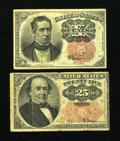 Fractional Currency:Fifth Issue, Two Long Key Notes.. Fr. 1265 10c Fifth Issue Fine. Fr. 1308 25cFifth Issue VG.. ... (Total: 2 notes)