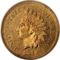 """Proof Indian Cents: , 1877 1C PR64 Red and Brown PCGS. The coppery-tan patination of this key date proof assumes a somewhat """"woodgrain"""" pattern. ..."""