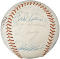 Autographs:Baseballs, 1974 Cleveland Indians Team Signed Baseball. Tremendous team-signedexample puts 26 signatures from the 1974 Cleveland Indi...