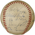 Autographs:Baseballs, 1952 Cleveland Indians Team Signed Baseball. The star-studdedroster that the Cleveland Indians flaunted for the 1952 seaso...