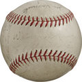 Autographs:Baseballs, 1935 Cleveland Indians Team Signed Baseball. The Hall of Fame hero Walter Johnson served a couple stints as major league sk...