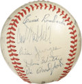 Autographs:Baseballs, 1943 New York Giants Team Signed Baseball. Here we offer a splendidteam signed ball from the final year of King Carl Hubbe...