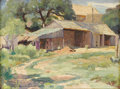 Texas:Early Texas Art - Impressionists, REVEAU BASSETT (1897-1981). Old Shelters - Fredericksburg, TexasSummer 1929. Oil on canvasboard. 12in. x 16in.. Signed ...