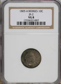 Early Dimes: , 1805 10C 4 Berries VG8 NGC. JR-2. NGC Census: (5/210). PCGSPopulation (8/246). Mintage: 120,780. Numismedia Wsl. Price for...