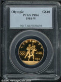 1984-W G$10 Olympic Gold Ten Dollar PR 66 PCGS. Richly colored with a deep cameo effect....(PCGS# 9617)