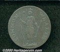 """1787 Massachusetts Cent VF 30. Four Leaves, """"Horned"""" Eagle. Breen-960, Ryder 2b-A. 9.55 grams. A pleasing choc..."""
