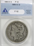 Morgan Dollars: , 1885-CC $1 F12 ANACS. NGC Census: (1/6505). PCGS Population (7/15297). Mintage: 228,000. Numismedia Wsl. Price for NGC/PCGS...