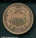 1867 2C PR 64 Red. The glassy fields are devoid of mentionable hairlines. In addition to being equally well preserved, t...